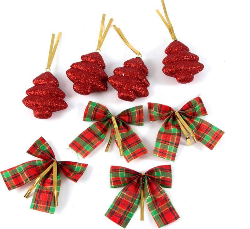 """Украшение для интерьера Русские Подарки """"Волшебный праздник"""", цвет: красный, 3 х 13 х 26 см, 8 шт"""