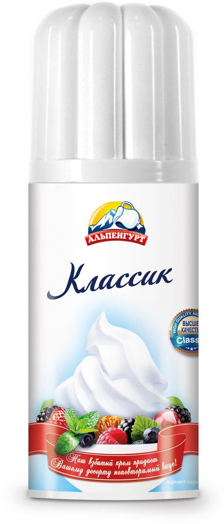Крем взбитый сливочный Альпенгурт Классик ультрапастеризованный, с ароматом ванили, 18%, 150 г