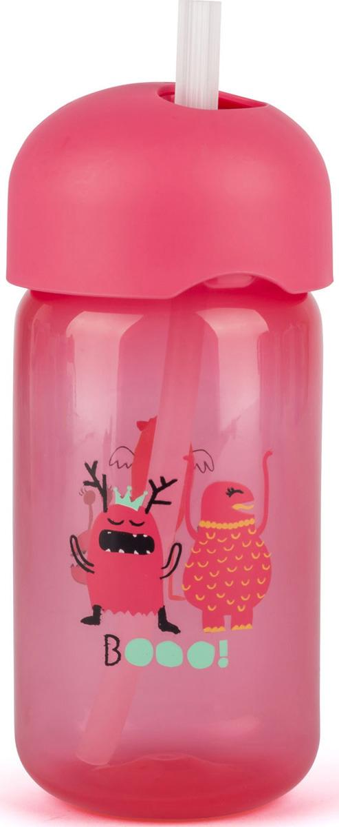 Бутылочка для кормления Suavinex Booo, от 18 месецев, с трубочкой, цвет: розовый suavinex поильник booo от 4 месяцев с ручками цвет розовый