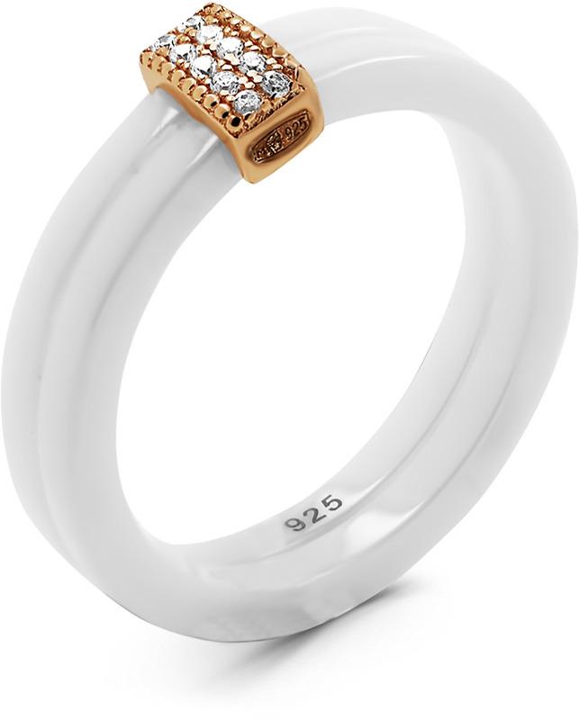 Кольцо женское Серебро России, серебро 925. TC-R00408-W-G-X-X-W. Размер 17,5СереброКольцо из золочёного серебра с керамикой и кубическим цирконием