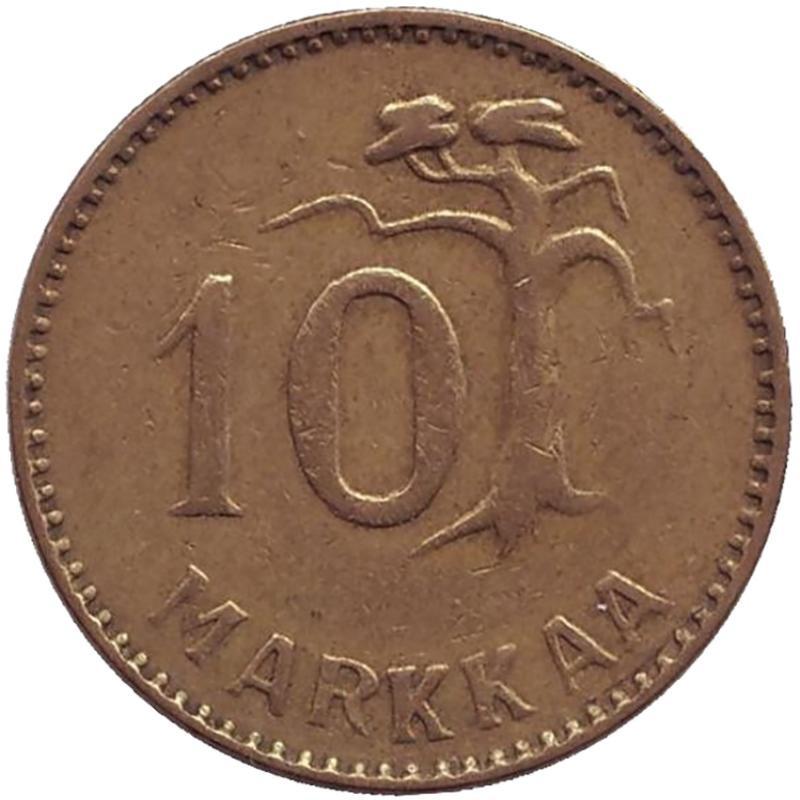 Монета номиналом 10 марок. Финляндия, 1953 монета номиналом 10 марок финляндия 1952