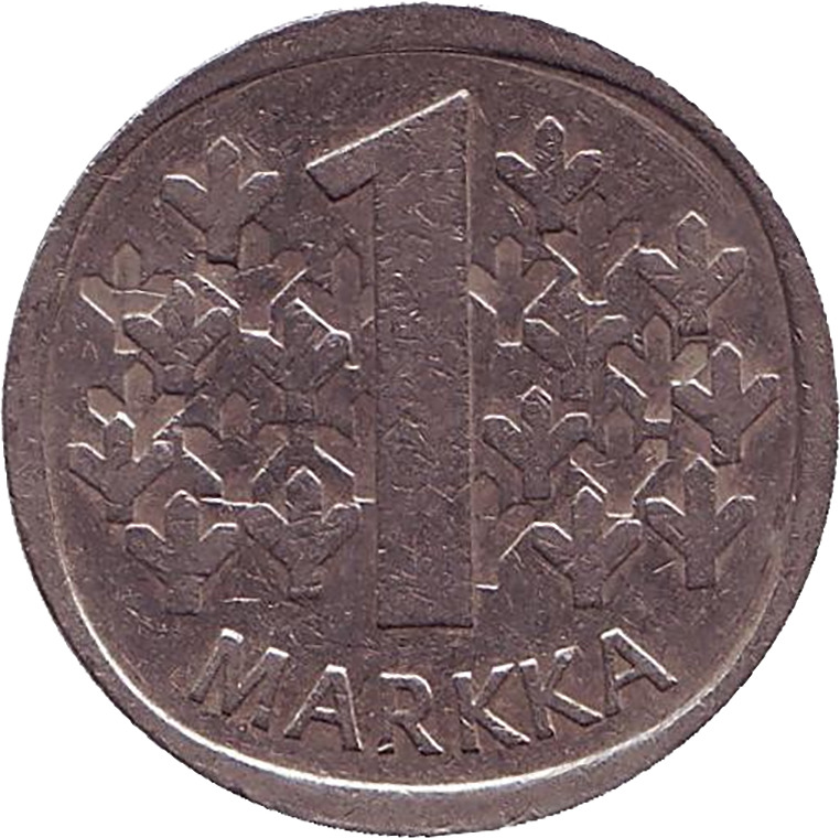 Монета номиналом 1 марка. Финляндия, 1975КИ-221Аверс: герб страны. Реверс: Надпись 1 марка