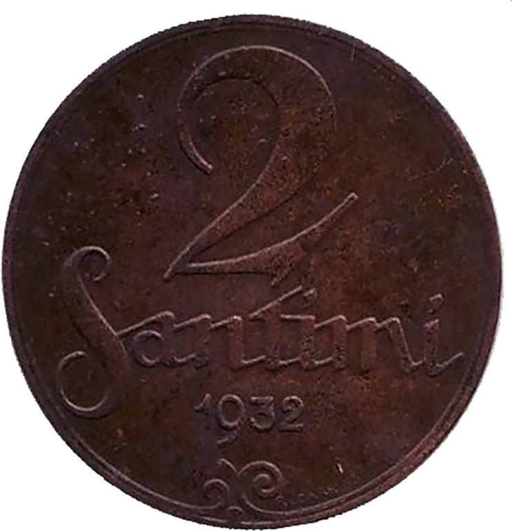 Монета номиналом 2 сантима. Латвия, 1932