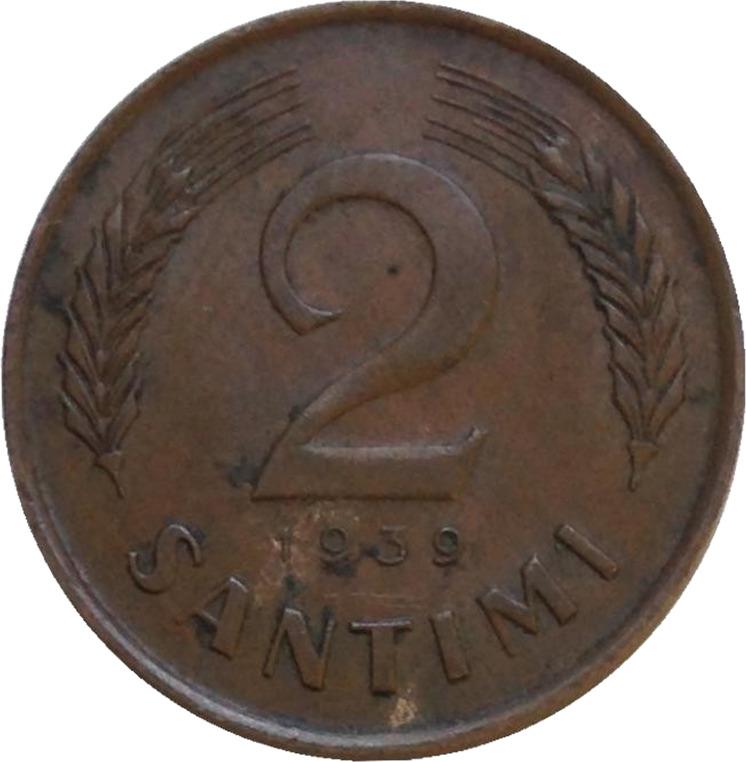 Монета номиналом 2 сантима. Латвия, 1939