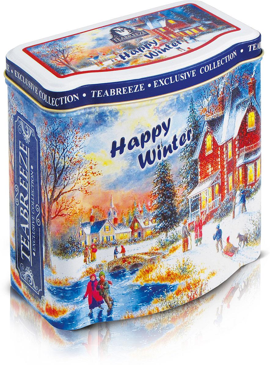 Чай листовой в новогодней подарочной жестяной банке Teabreeze Happy Winter Земляника со сливками, 100 г teabreeze листовой ароматизированный чай земляника со сливками 100 г