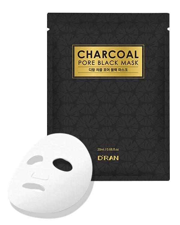 Маска косметическая D'RAN Черная маска с древесным углем для очищения и увлажнения New Charcoal Pore Black Mask