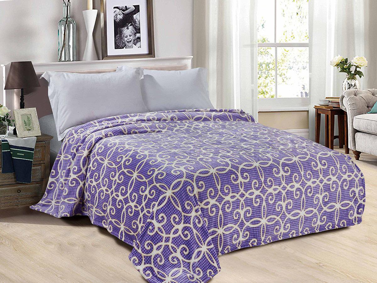 Плед Cleo Ноктюрн 150/111-pf, фиолетовый, бежевый, 150 х 200 см подушка 60х40 с полной запечаткой printio квадратики