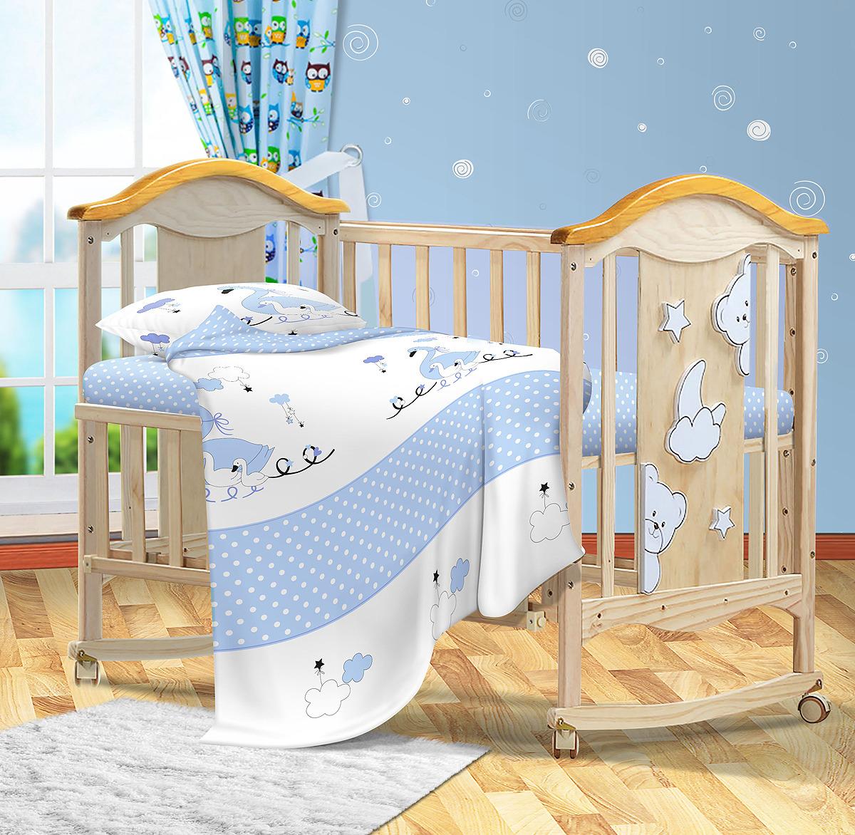 Комплект постельного белья детский Bonne Fee ОДР-110х140/2, голубой комплект постельного белья детский bonne fee опдр 110х140 3 розовый