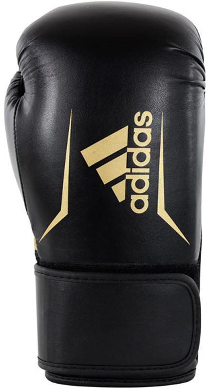 Перчатки боксерские Adidas adiSBG100, черный, золотистый, вес 10 унций