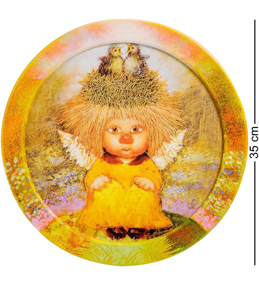 ANG-460 Жикле в круглой раме ''Ангел семейного счастья'' D=30 сергей зверев фоторобот в золоченой раме