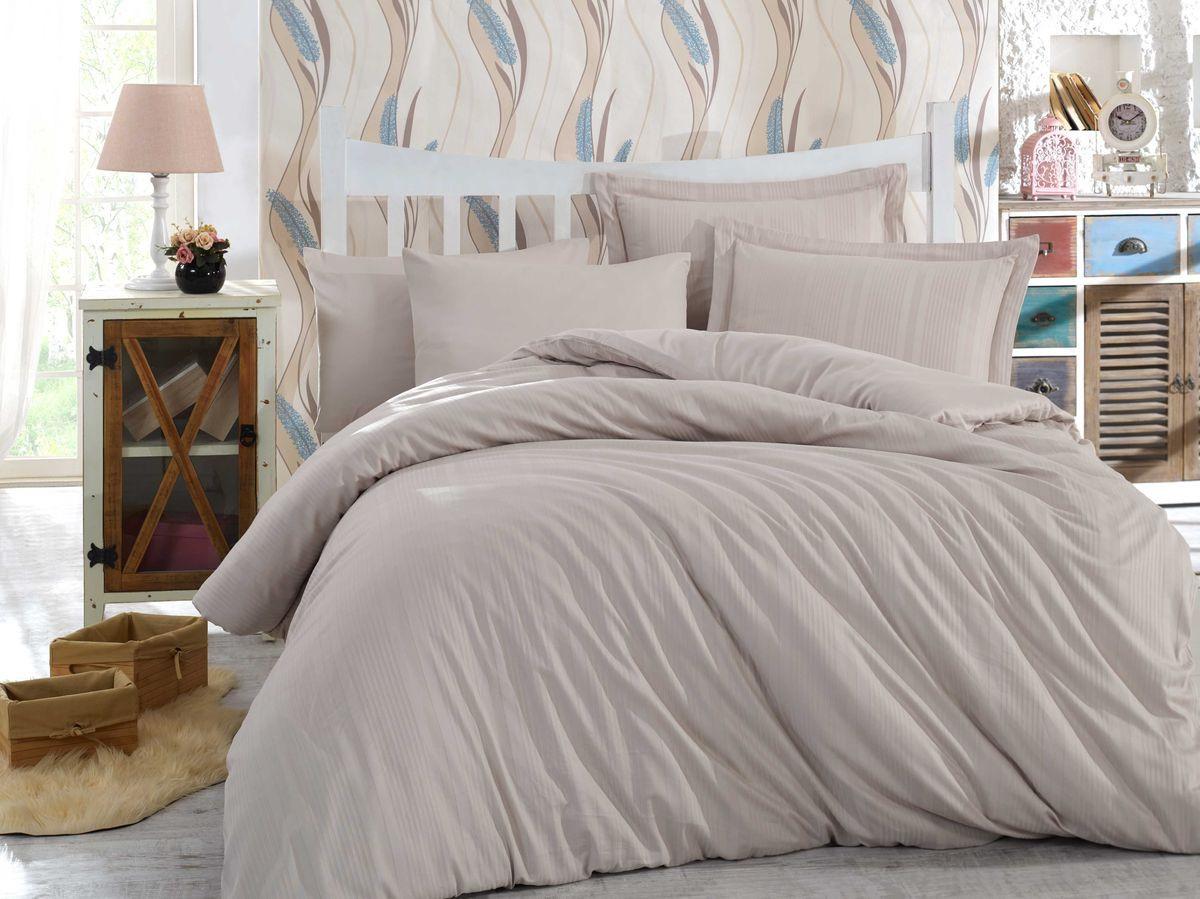 Комплект постельного белья Hobby Home Collection Stripe, 1,5 спальный, наволочки 50x70, цвет: светло-серый. 1501002247