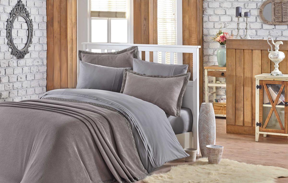 Комплект постельного белья Hobby Home Collection Natural, c покрывалом, евро, цвет: серый. 2000000044