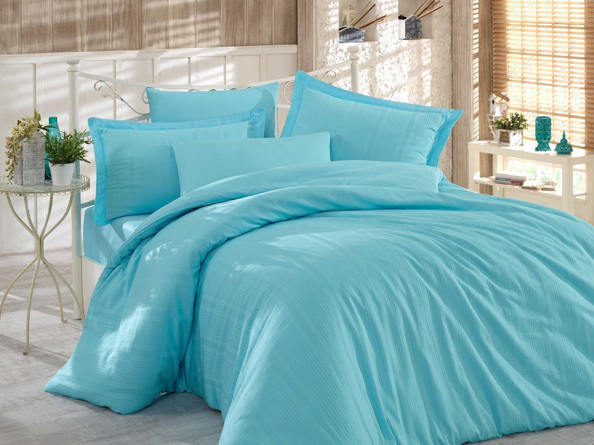 Комплект постельного белья Hobby Home Collection Stripe, 1,5 спальный, наволочки 50x70, цвет: голубой. 1501002244