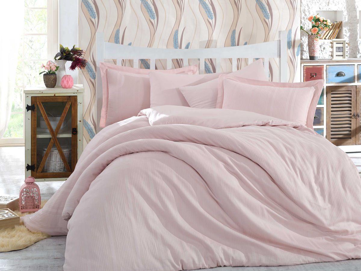 Комплект постельного белья Hobby Home Collection Stripe, 1,5 спальный, наволочки 50x70, цвет: светло-розовый. 1501002246