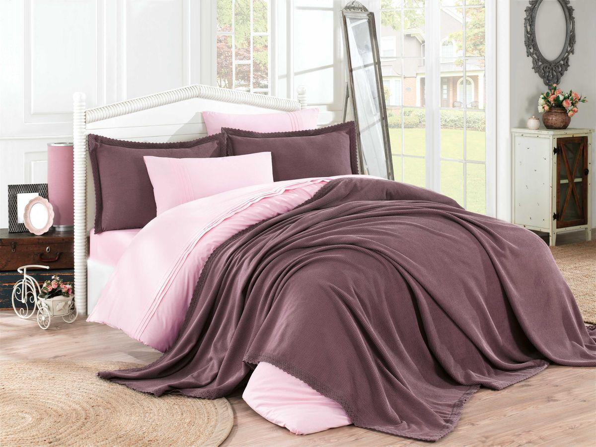 Комплект постельного белья Hobby Home Collection Natural, c покрывалом, 1,5 спальный, наволочки 50x70, цвет: бордовый. 2000000052