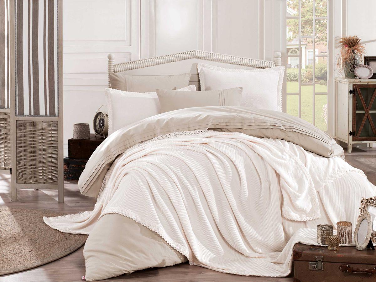 Комплект постельного белья Hobby Home Collection Natural, c покрывалом, 1,5 спальный, наволочки 50x70, цвет: слоновая кость. 2000000050