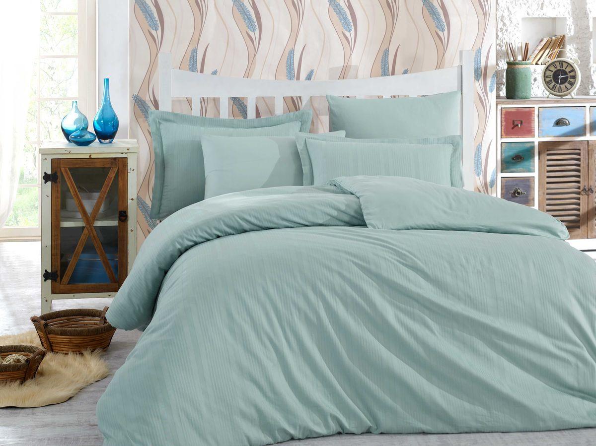 Комплект постельного белья Hobby Home Collection Stripe, 1,5 спальный, наволочки 50x70, цвет: светло-зеленый. 1501002245