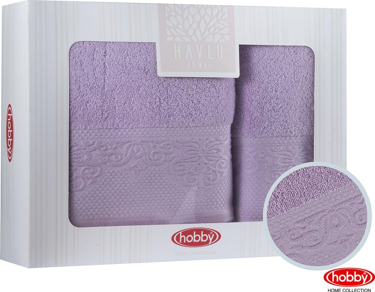Набор банных полотенец Hobby Home Collection Alice 2000000014, лиловый, 2 шт