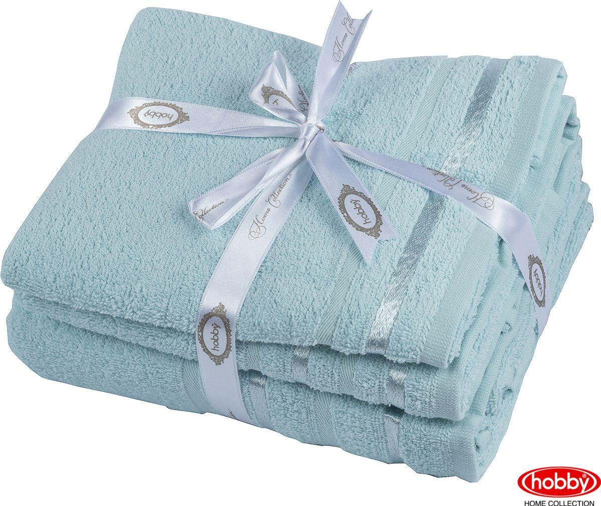 Набор банных полотенец Hobby Home Collection Nisa 2000000162, бирюзовый, 3 шт