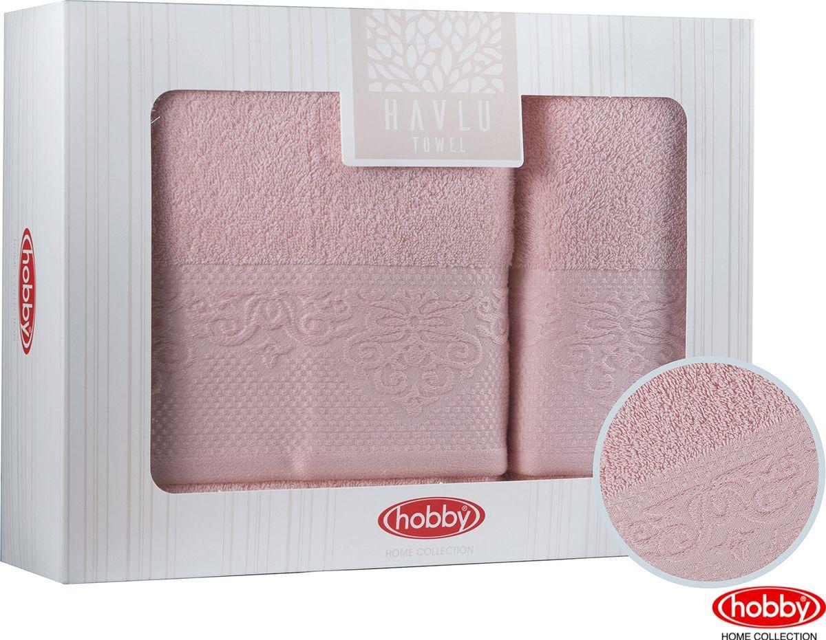 Набор банных полотенец Hobby Home Collection Alice 2000000015, персиковый, 2 шт