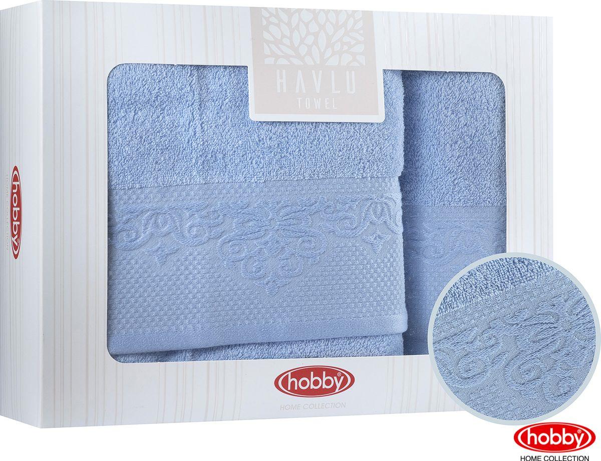 Набор банных полотенец Hobby Home Collection Alice 2000000011, синий, 2 шт