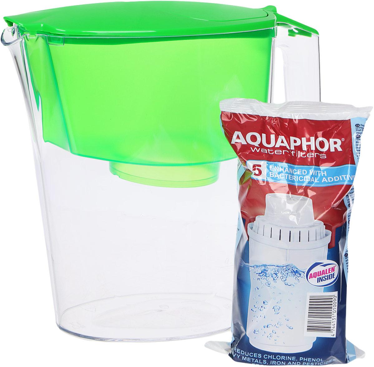 цена на Фильтр-кувшин для воды Аквафор Ультра, цвет: прозрачный, салатовый, 2,5 л