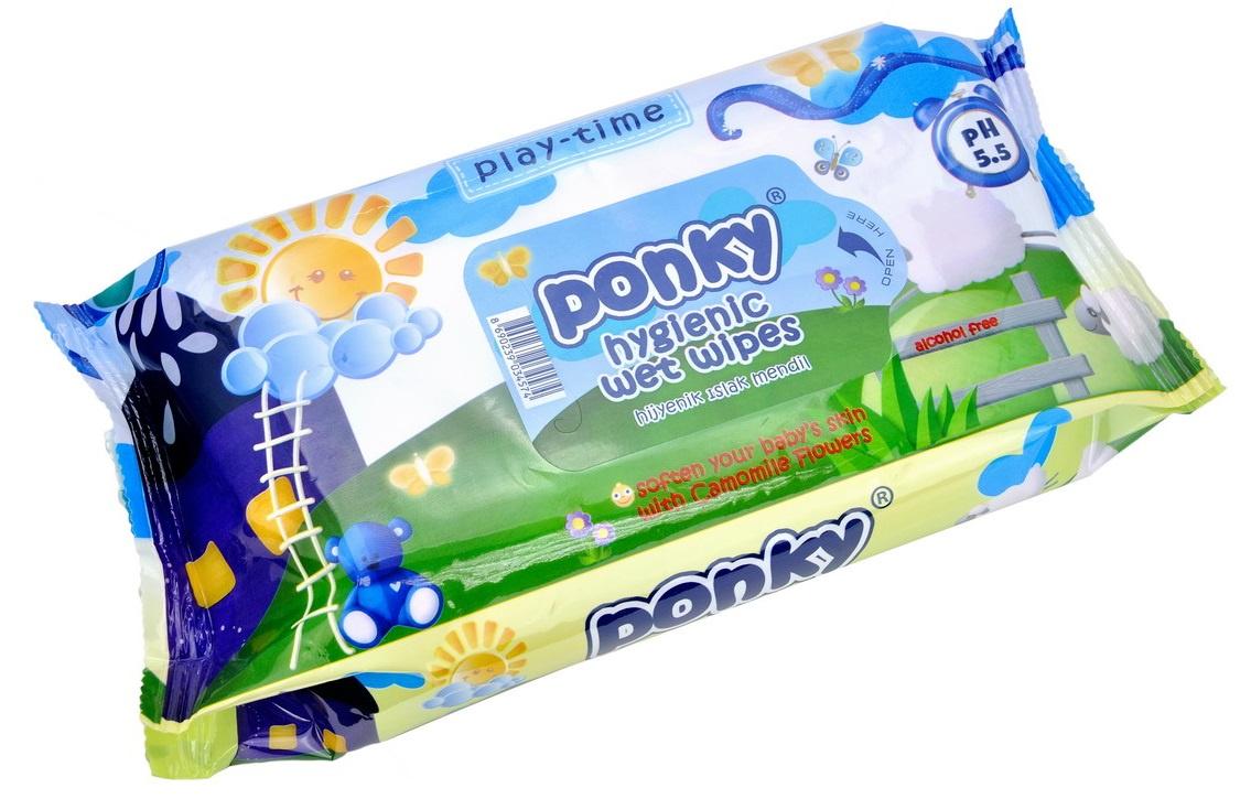 Влажные салфетки Ponky детские, 70 шт салфетки детские влажные ponky с крышкой 8690239034604 70 шт