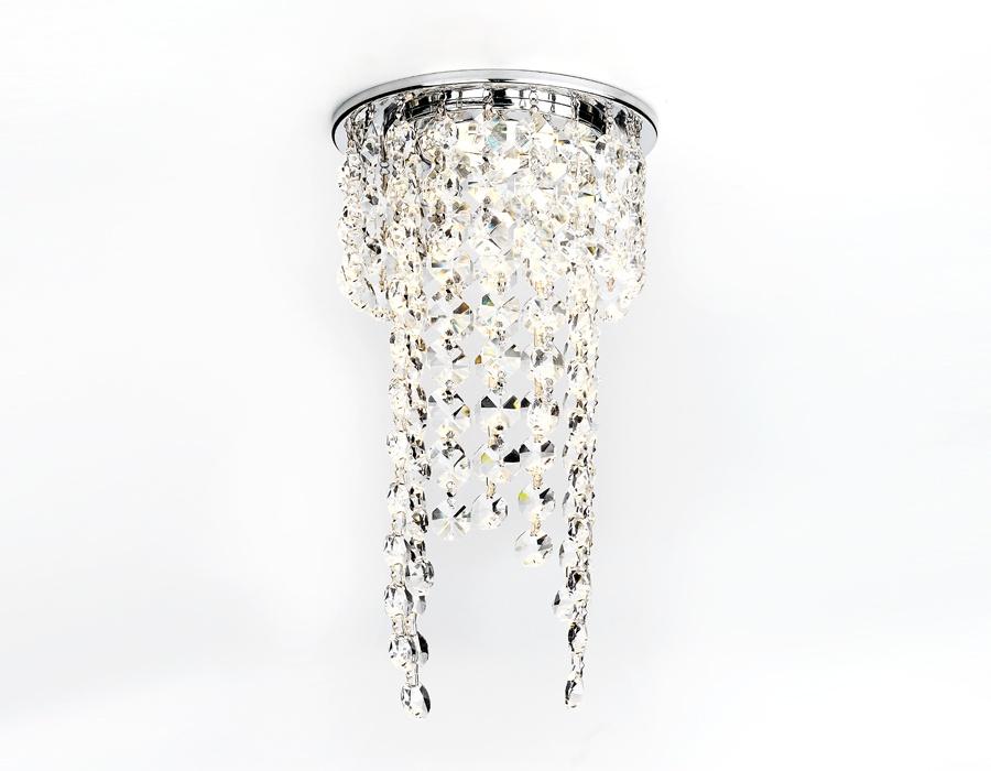 Потолочный светильник Ambrella light CRYSTAL, серебристый ambrella встраиваемый светильник ambrella led s701 cl ch ww
