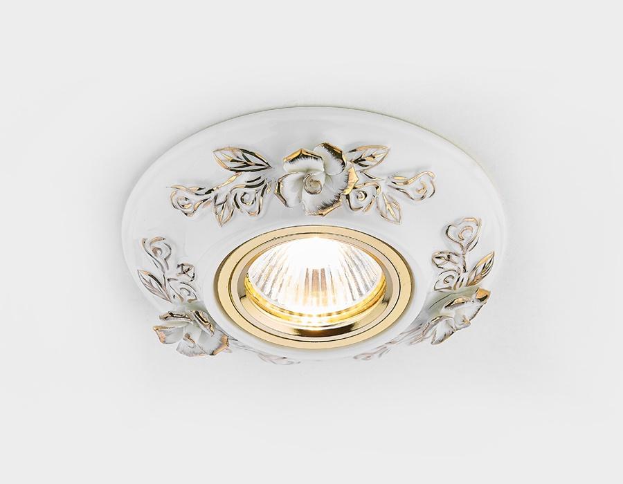 Точечный светильник D5503 W/GD белый золото керамика светильник точечный накладной коллекция vitoria surfase fd1012sob латунь блестящее золото fede феде