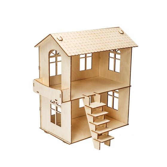 Деревянный конструктор Iq Format кукольный домик с балконом, для кукол LOL набор мебели игрушечный форма спальня