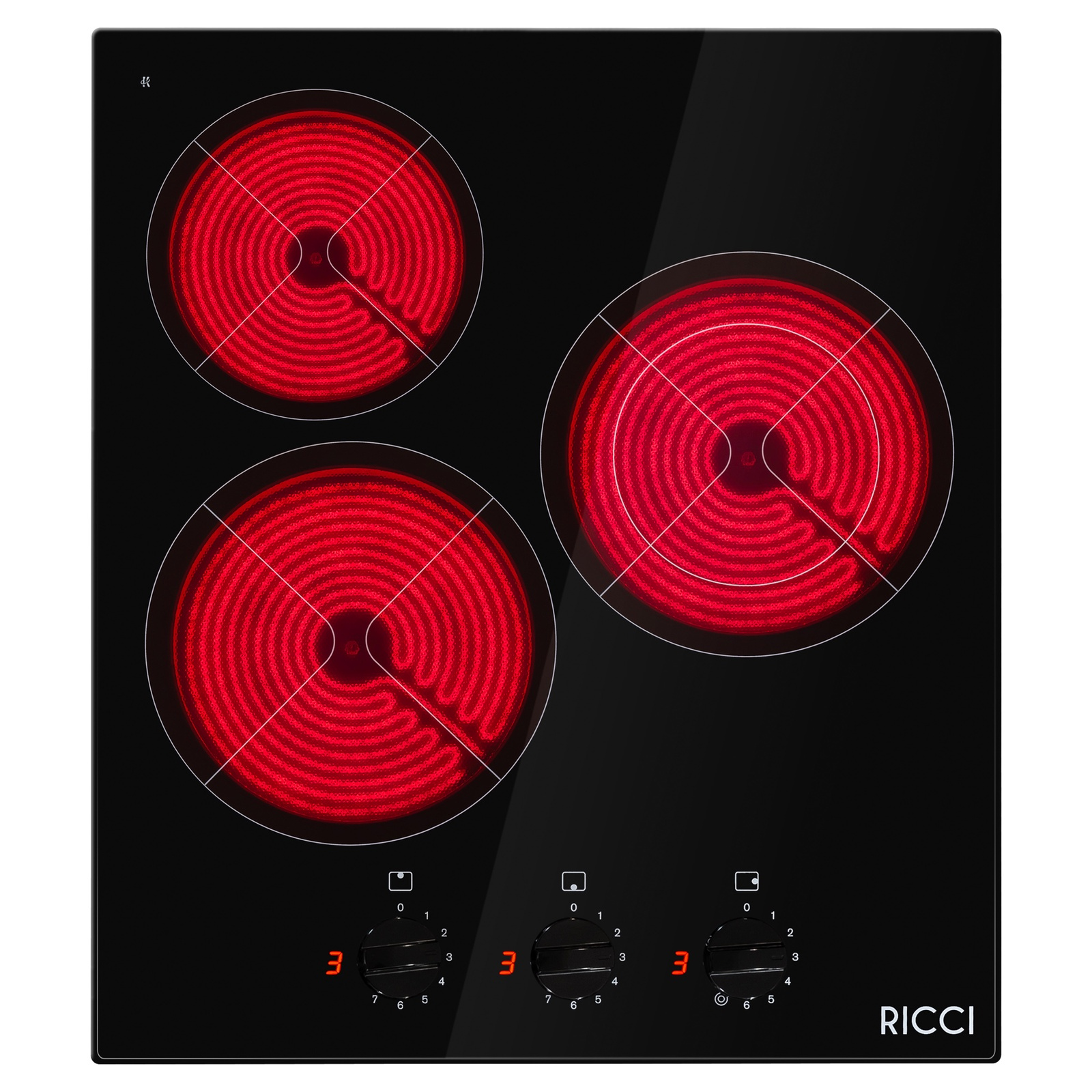 Панель инфракрасная варочная встраиваемая 3х конфорочная RICCI KS-T35011BR все цены