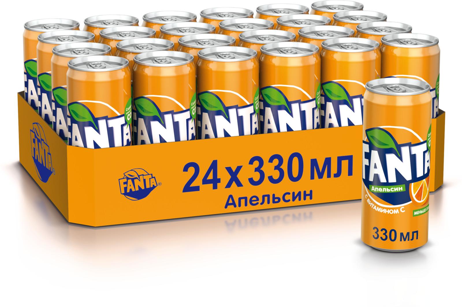 Fanta Апельсин напиток сильногазированный, 24 штуки по 0.33 л