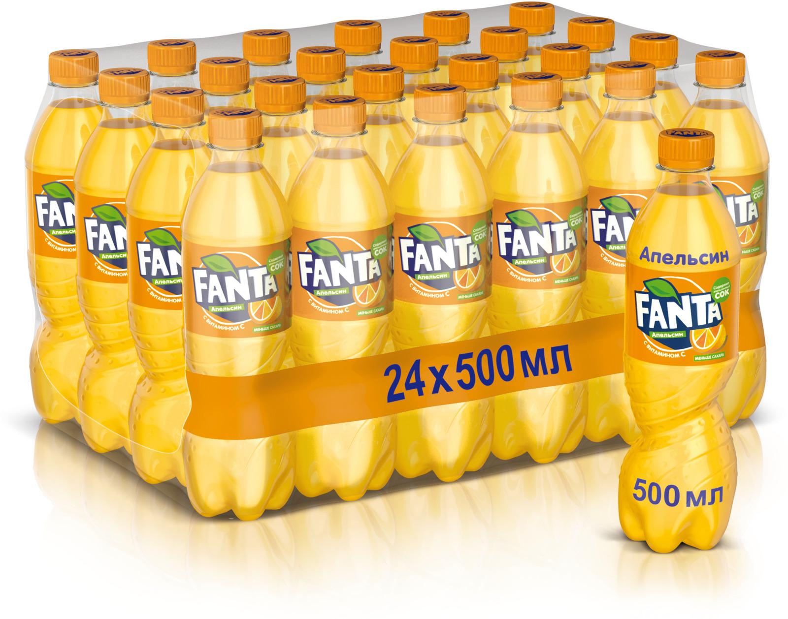Fanta Апельсин напиток сильногазированный, 24 штуки по 0.5 л