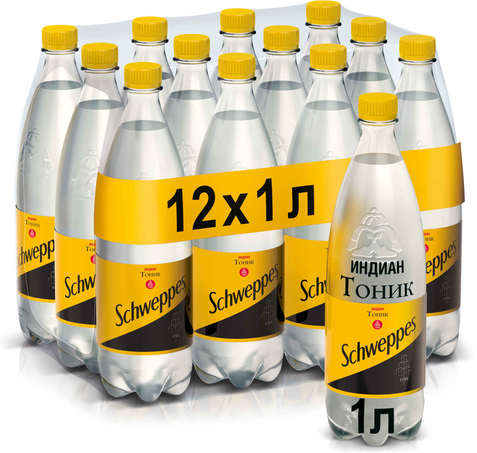 Schweppes Индиан Тоник напиток сильногазированный 12 штук по 1 л