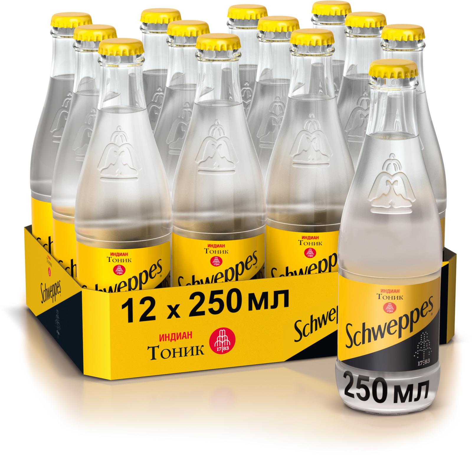 Schweppes Индиан Тоник напиток сильногазированный, 12 штук по 0.25 л