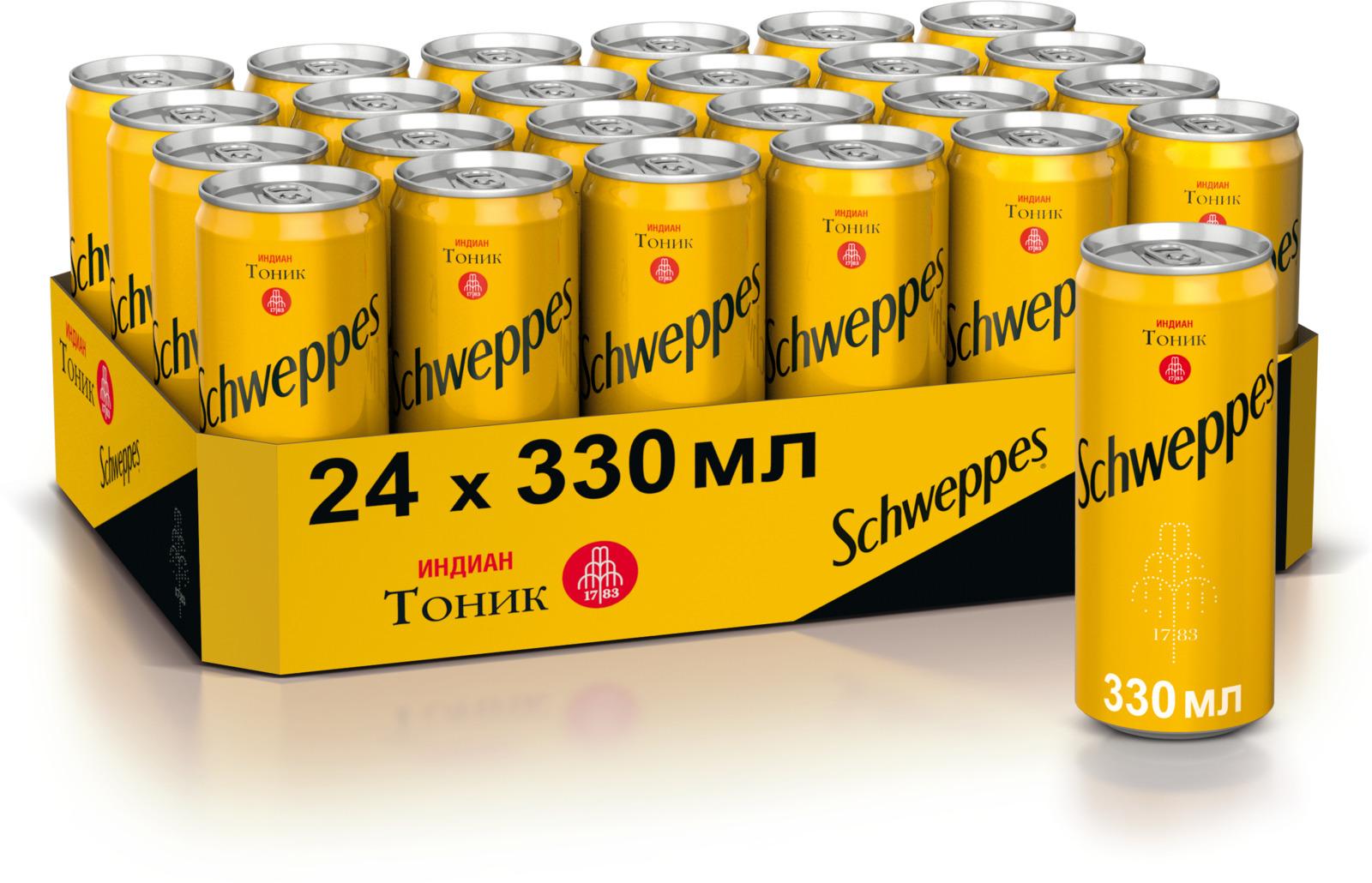 Schweppes Индиан Тоник напиток сильногазированный, 24 штуки по 0.33 л