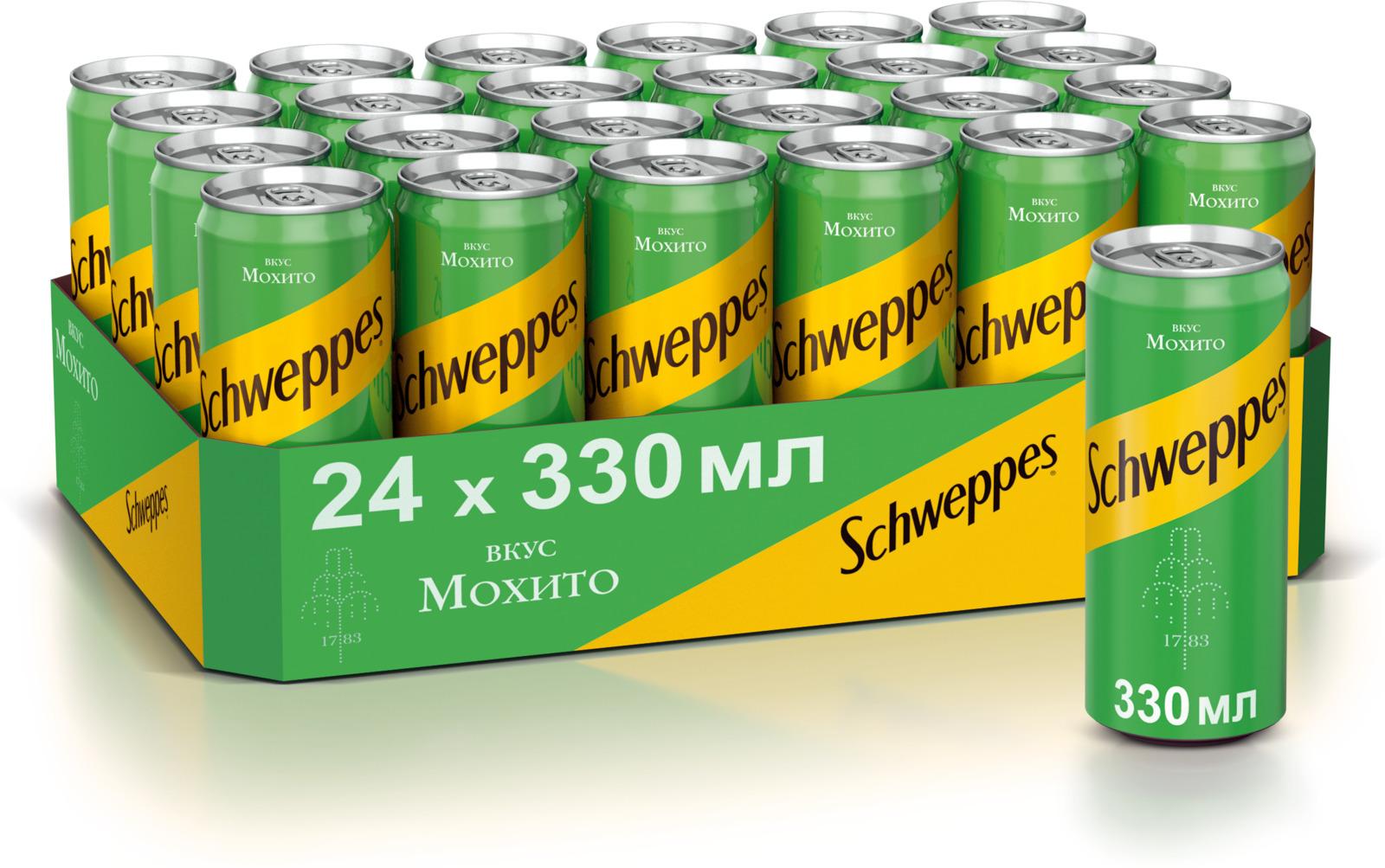 Schweppes Мохито напиток сильногазированный, 24 штуки по 0.33 л