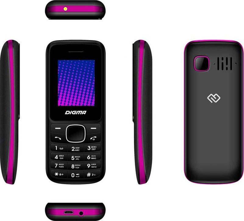Мобильный телефон Digma Linx A170 2G, черный, фиолетовый Digma