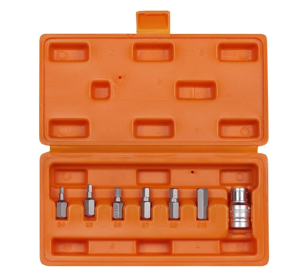 Набор бит вставок шестигранных 3/8 30мм с держателем бит 1/2 DR 7 предметов в кейсе (AT-B-36) набор бит bosch 7 предметов 2 607 001 937