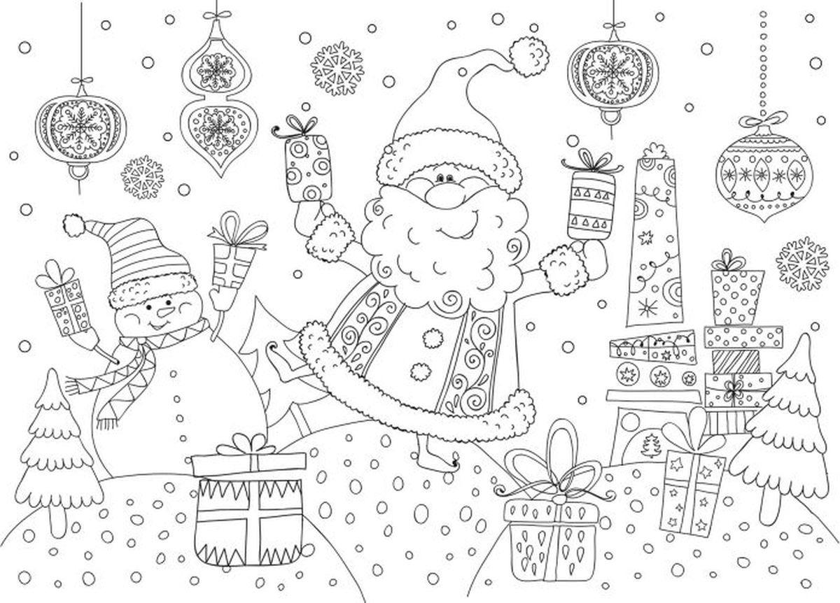 """Коврик-раскраска настольный Magic Time """"Дедушка Мороз и снеговик"""", защитный, развивающий. 78056"""
