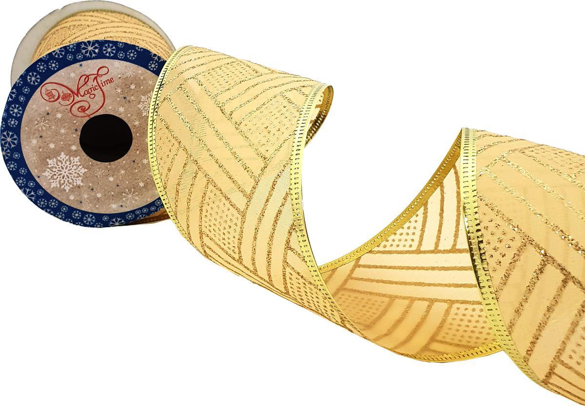 Лента новогодняя Magic Time Золотые полосы, 270 х 6,3 см. 78651 новогодняя лента magic time золотое конфетти 78641