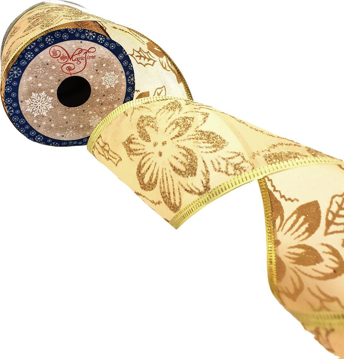 Лента новогодняя Magic Time Золотой рисунок, 270 х 6,3 см. 78652 новогодняя лента magic time золотое конфетти 78641