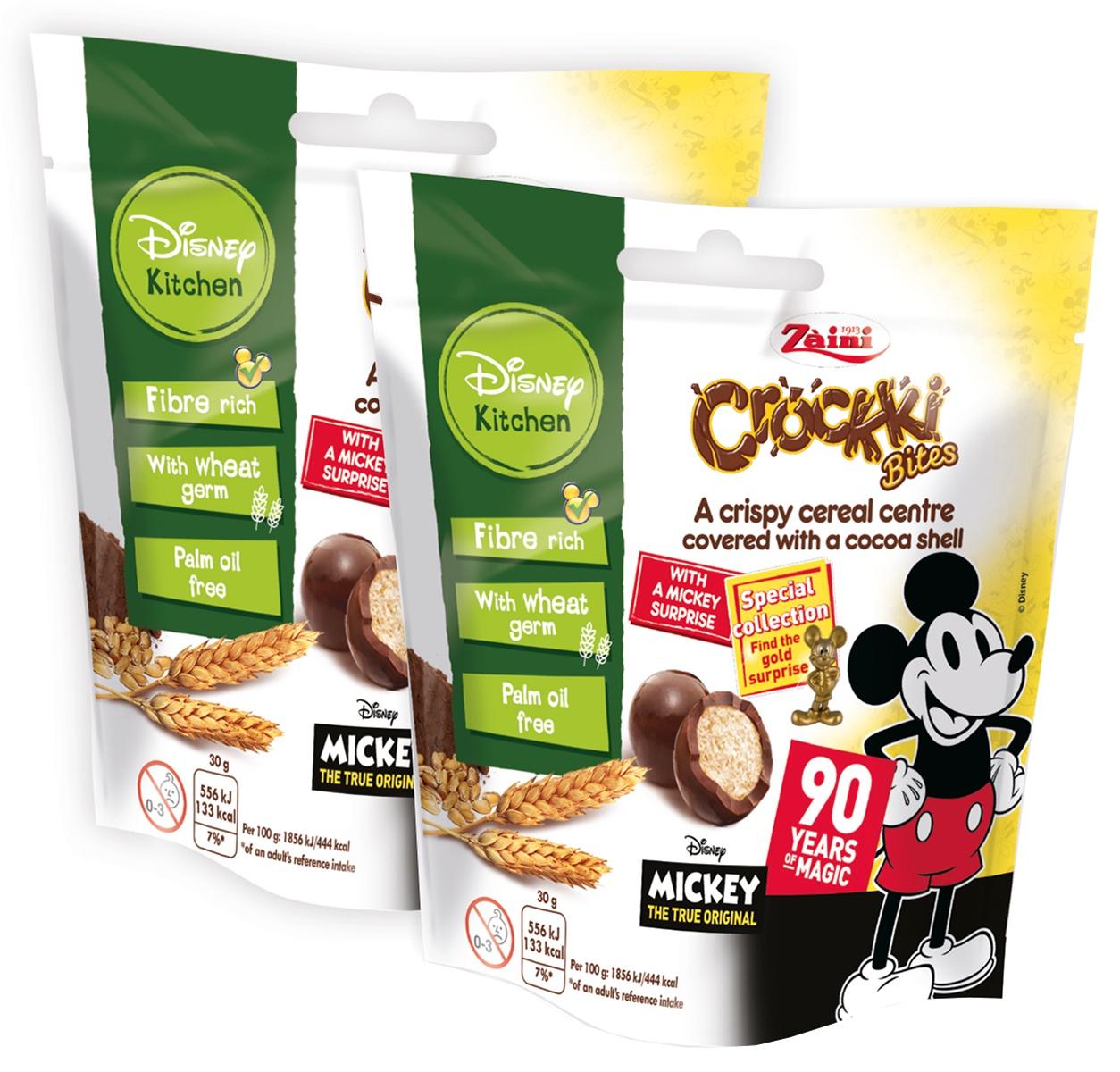 Хрустящие шарики BITES COCOA MICKEY Zaini PF0138, с коллекционной игрушкой внутри, покрытые какао, 2шт*30гр zaini choco