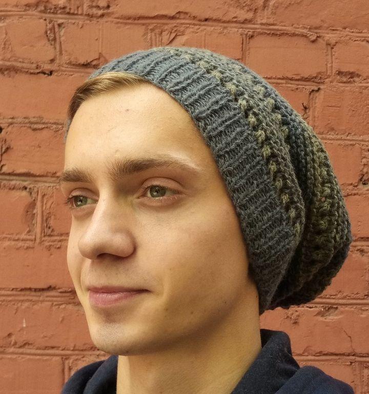 Набор для вязания модной шапочки NEVA YARN BEANIE, сине-оливковый, 2x50 г