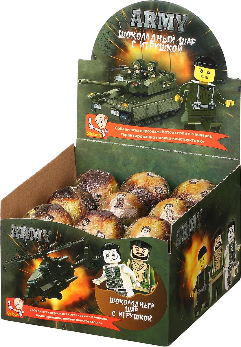 Шоколадное яйцо Sluban Army, 18 шт по 25 г детское лего sluban airbus lego b0366