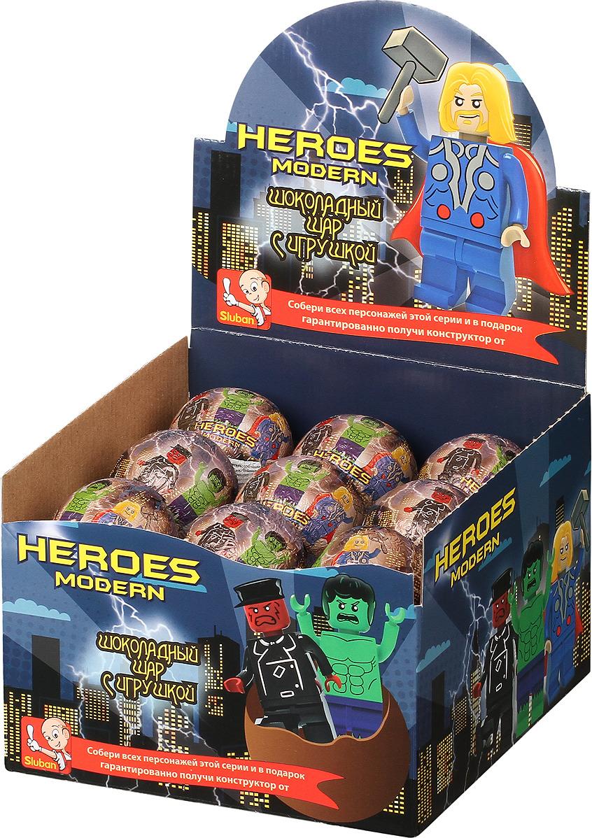 Шоколадное яйцо Sluban Heroes, 18 шт по 25 г детское лего sluban airbus lego b0366