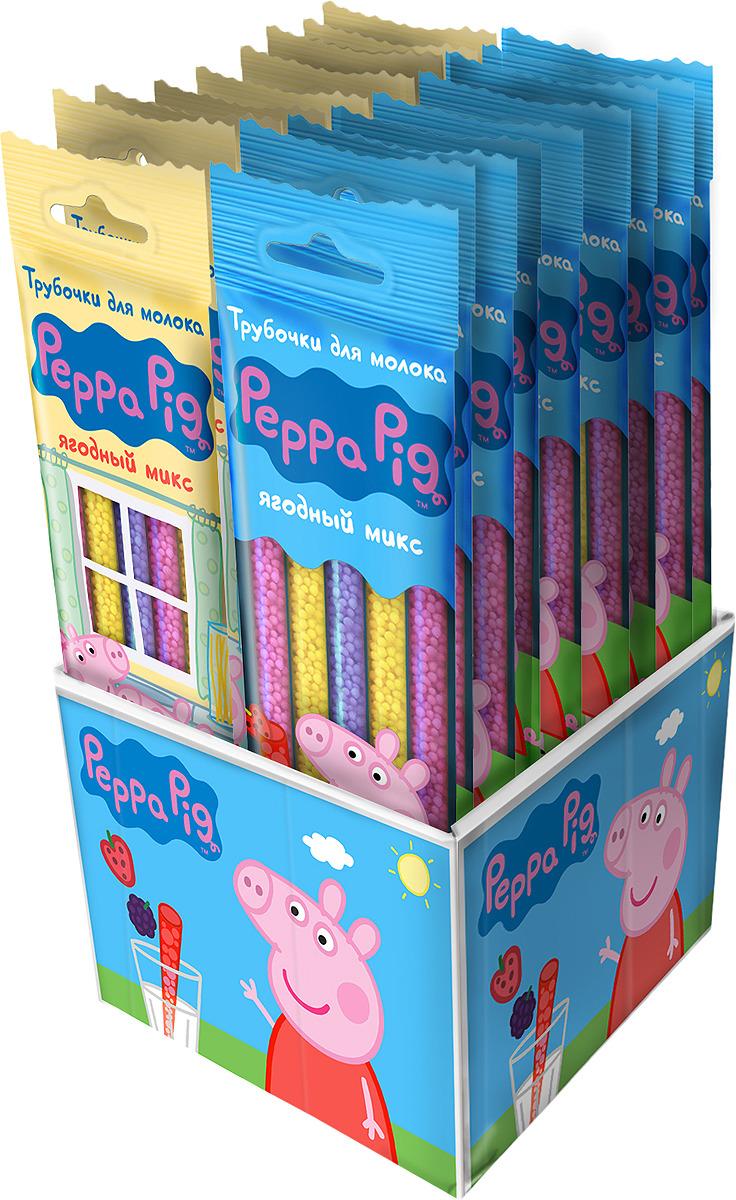 Трубочка для молока Свинка Пеппа, ягодный микс, 30 г + магнит Peppa Pig (Свинка Пеппа)