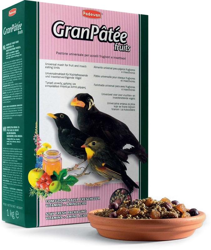 Корм Padovan GranPatee fruits для насекомоядных птиц, с фруктами, 1 кг padovan корм padovan granpatee fruits для насекомоядных птиц комплексный фруктовый 1 кг