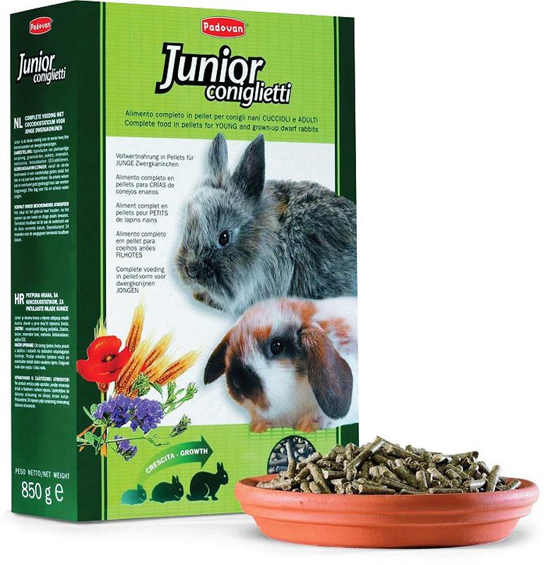 Корм Padovan Junior Сoniglietti для молодняка кроликов, 850 г корм для грызунов padovan колечки люцерна для кроликов 150 г