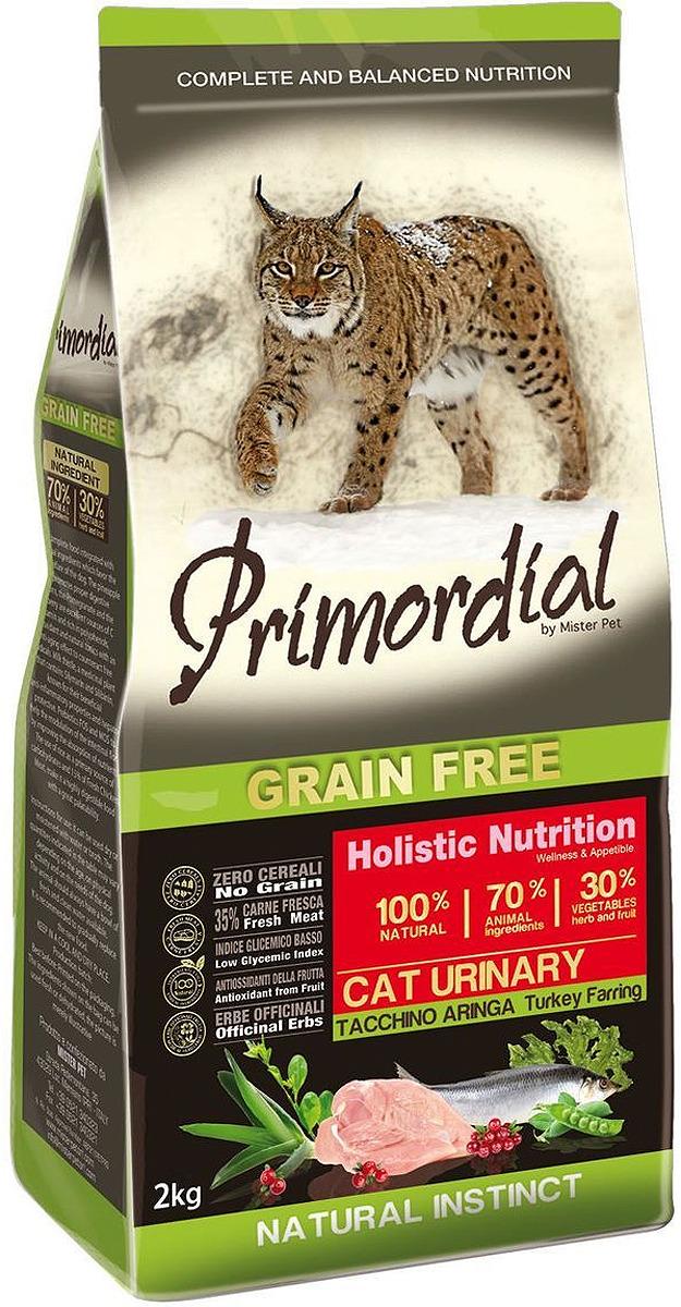 """Корм сухой """"Primordial"""" для кошек с мочекаменной болезнью, беззерновой, с индейкой и сельдью, 2 кг"""